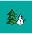 christmas snowman and xmas tree doodle holiday vector image vector image