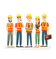 construction workers team vector image vector image