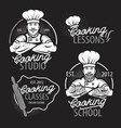 cooking vintage logo cooking class template logo vector image vector image