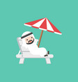 cute arab businessman lay down on beach bench vector image vector image