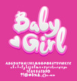 cute pink baby girl alphabet vector image vector image
