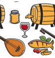 cyprus food drink and musical instrument seamless vector image vector image