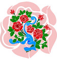 festive bouquet of red roses with blue ribbon vector image