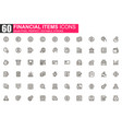 financial items thin line icon set vector image