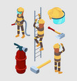 firefighters isometric proffesional equipment of vector image vector image