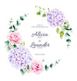 floral and greenery wreath for wedding invitation vector image