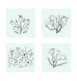 flowers composition in doodle style vector image vector image