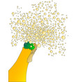 frothy champagne bottle top vector image vector image