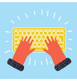 hand keyboard typing vector image vector image