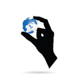 hand with planet earth vector image vector image