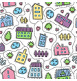 house doodle seamless pattern fun houses vector image vector image