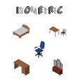 isometric furnishing set of chair table office vector image