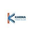 karma yoga club letter k icon vector image vector image