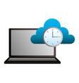 laptop cloud computing clock time vector image