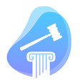law and constitution symbol hammer on pillar vector image vector image