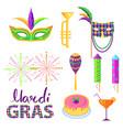 magri gras carnival attributes flat concept vector image vector image