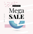 mega sale offer banner template in trendy memphis vector image vector image