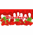 melt strawberry sauce on white background with vector image vector image