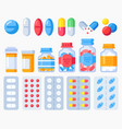 pharmaceutical pills medicine bottles and pills vector image vector image