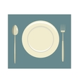 Place setting with empty dish fork and knife icon vector image vector image