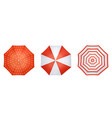 red and white realistic umbrella set from top view vector image vector image