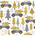 seamless pattern gold christmas trees and car vector image vector image