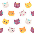 seamless pattern with cat faces flat design vector image