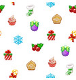 seamless pattern with icons happy new year vector image vector image