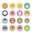 set cute animal faces stickers vector image vector image
