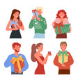 set people holding presents vector image