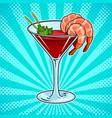 shrimp cocktail pop art vector image