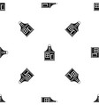 small house pattern seamless black vector image vector image