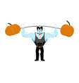 Strong Dracula holding rod and pumpkin Sports vector image vector image