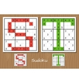 Sudoku set with answers S T letters vector image vector image