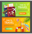 summer travel and tourism service banner vector image vector image