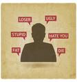teenager boy victim of cyberbullying vintage vector image vector image