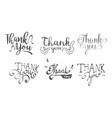 thank you retro hand drawn labels set vector image vector image