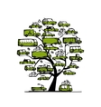 Tree with green cars transportation concept for vector image vector image