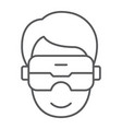 vr headset thin line icon game and technology vector image vector image