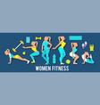 workout fitness girl set 3d paper art heath vector image