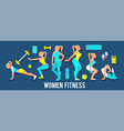 workout fitness girl set 3d paper art heathy vector image