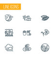 world icons line style set with eco farming vector image