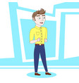 young man cartoon dancing over blue abstract vector image