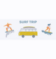young people riding on surfboards set vintage vector image