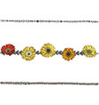 doodle floral line with colorfull daisies flowers vector image
