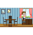 A boy sitting above the cabinet near the window vector image vector image