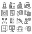 architecture and project construction icons set vector image vector image