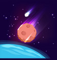 asteroid in space meteorite in sky dark vector image vector image
