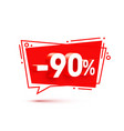 banner 90 off with share discount percentage vector image vector image