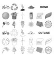 bio and ecology monochrom icons in set collection vector image